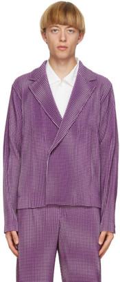 Homme Plissé Issey Miyake Purple Gingham Hologram Blazer