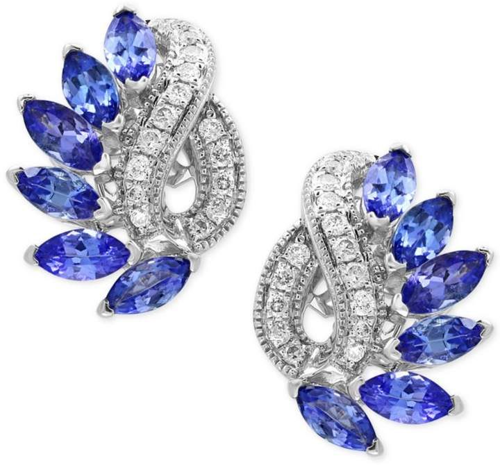 Effy EFFYandreg; Tanzanite Royalandeacute; Tanzanite (1-3/4 ct. t.w.) and Diamond (1/5 ct. t.w.) Drop Earrings in 14k White Gold, Created for Macy's