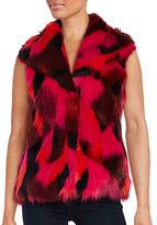 Karl Lagerfeld Paris Patchwork Faux Fur Vest