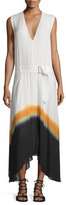 A.L.C. Deloro Silk Tie-Dye Maxi Dress, White/Orange/Navy