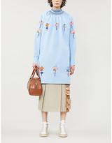 Prada Floral-embroidered cotton-poplin mini dress