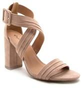 Qupid Block Heel Cross Strap Sandal