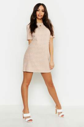 boohoo Gingham Short Sleeve Shift Dress