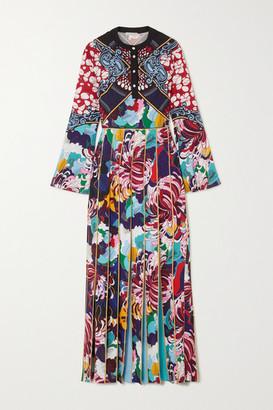 Mary Katrantzou Desmine Pleated Printed Crepe De Chine Maxi Dress - Blue