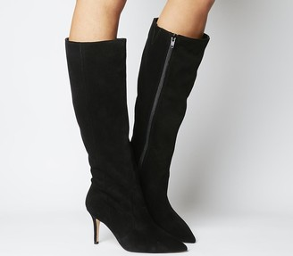 Office Keep Up Stiletto Knee Boots Black Suede