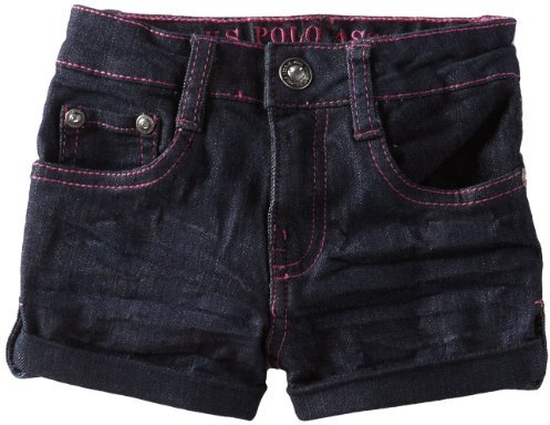 U.S. Polo Assn. Girls 2-6X Cuffed and Tabbed Denim Short