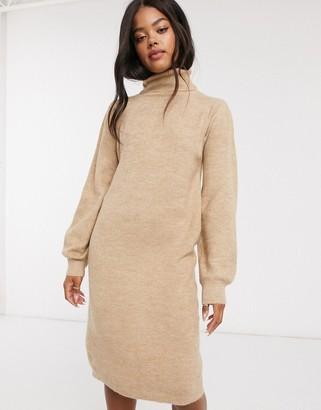 Urban Bliss roll neck dress in beige