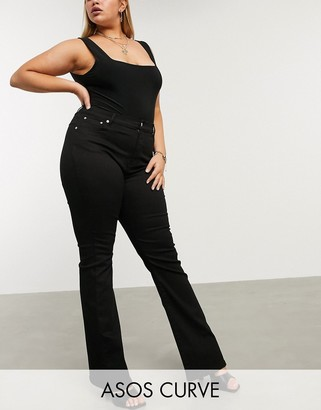 ASOS DESIGN Curve high rise hourglass 'lift and contour' flare jeans in clean black