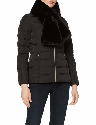 Geox Women's Eliska Mid Length Jacket with Faux Fur Neck Scarf Outerwear