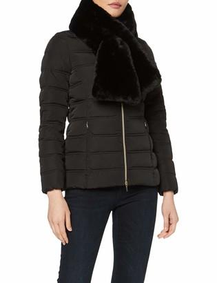 Geox Women's Eliska Mid Length Jacket with Faux Fur Neck Scarf Outerwear