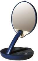 Floxite Lighted Adjustable 15X Travel Mirror Compact in Blue Case