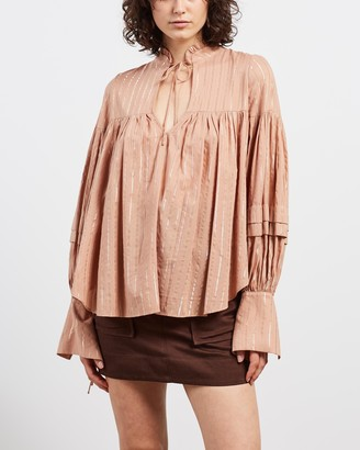 Shona Joy Women's Brown Shirts & Blouses - Corinne Balloon Sleeve Blouse - Size 6 at The Iconic