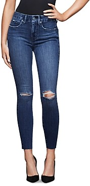 Good American Cropped Raw Hem Jeans in Blue432