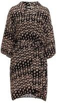Gold Hawk Ikat Tie-Front Silk Dress