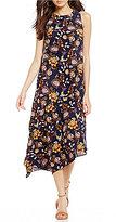 Daniel Cremieux Asymmetrical Floral Printed Hanna Midi Dress