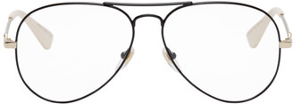 Gucci Black and Gold Aviator Glasses