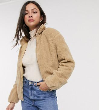 JDY fleece jacket in tan
