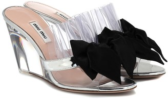 Miu Miu Leather-trimmed wedges