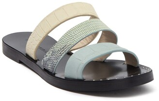 Freda Salvador Iris Embossed Leather Slide Sandal