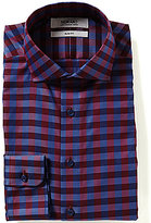 Murano Slim-Fit Cutaway Collar Checked Dress Shirt