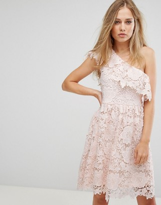 Vero Moda lace one shoulder mini dress in pink