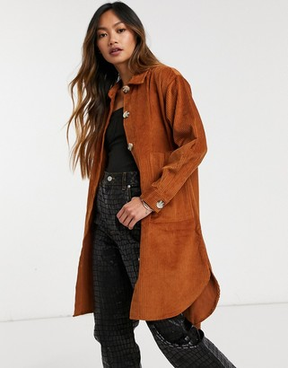 NATIVE YOUTH button cord through shirt dress in rust