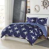 Lala + Bash Fly Airplanes Reversible Comforter Set in Blue
