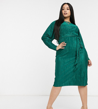 ASOS DESIGN Curve exclusive plisse batwing wrap midi dress with self tie belt in green