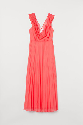 H&M Pleated Chiffon Dress - Red