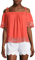 BY AND BY by&by Short Sleeve Rayon Blouse-Juniors