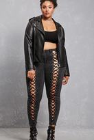 Forever 21 FOREVER 21+ Plus Size Lace-Up Jeggings