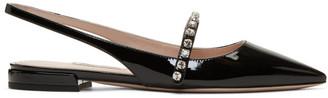 Miu Miu Black Patent Slingback Ballerina Flats