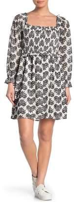 TRINITY MOON Long Sleeve Smocked Square Neck Dress