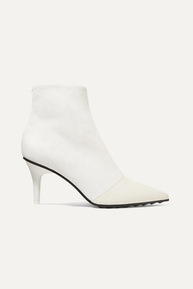 Rag & Bone Beha Moto Paneled Leather And Suede Ankle Boots - Off-white
