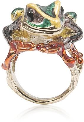 Bernard Delettrez Big Froggy Bronze Ring w/ Enamel