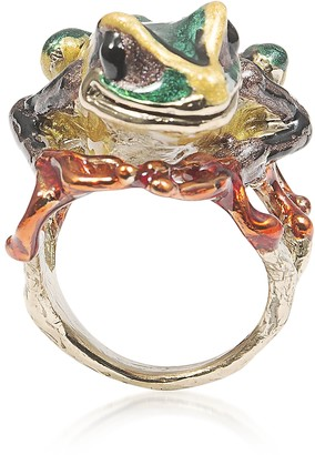 Big Froggy Bronze Ring w/ Enamel