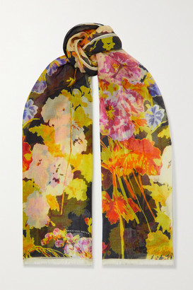 Dries Van Noten Fringed Floral-print Silk And Modal-blend Scarf - Yellow