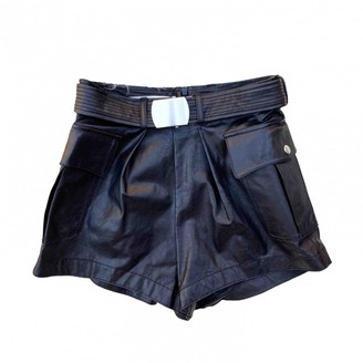 Philosophy di Alberta Ferretti Black Leather Shorts for Women