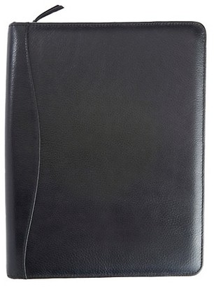 Royce New York Zippered Pebbled Leather Tech Case Organizer