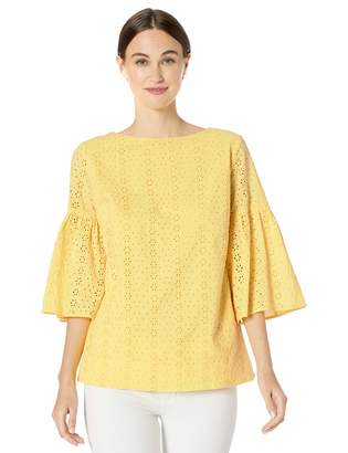 Chaps Women's 3/4 Eyelet Bell-Sleeve Top
