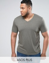 Asos PLUS T-Shirt With V Neck In Green