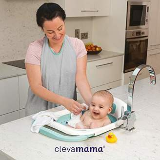 Clevamama Clevabath - The Baby Sink Bath - Foldable Baby Bathtub for Travel and Home - Soak Baby Bath Tub with Foam Back Rest and Bum Bump Support
