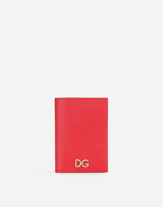 Dolce & Gabbana Calfskin Passport Holder With Crystal Logo