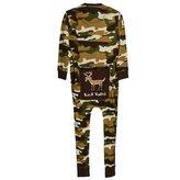 Lazy One Buck Naked Deer Flapjacks Unisex Adult Pajamas (Green Camo,)