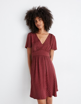 Madewell V-Neck Fit-and-Flare Dress in Dot Jacquard