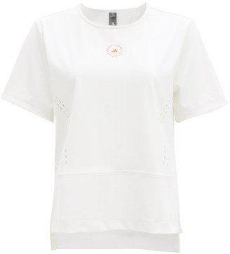 adidas by Stella McCartney Truestar Perforated Recycled Fibre-blend T-shirt - White