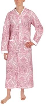 Miss Elaine Paisley-Print Long Zipper Robe