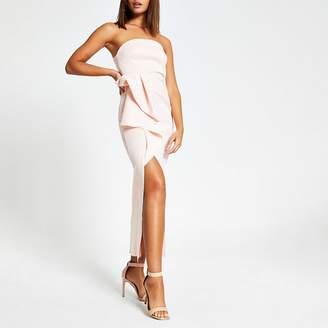 River Island Pink sleeveless ruffle bodycon maxi dress
