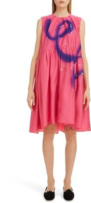 Roksanda Scribble Print Pleated Shift Dress