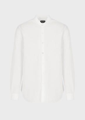 Giorgio Armani Regular Fit Seersucker Shirt With A Guru Collar